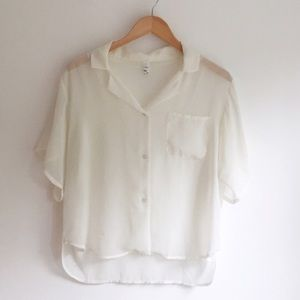 Tops - White chiffon button up blouse